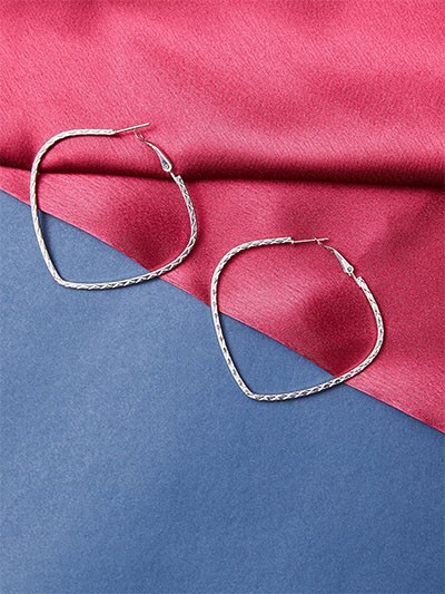 Classic Silver Heart Hoop Earrings