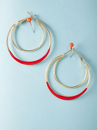 Golden and Red Double Hoop Earrings