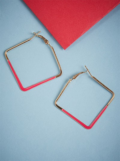 Golden and Red Square Earrings