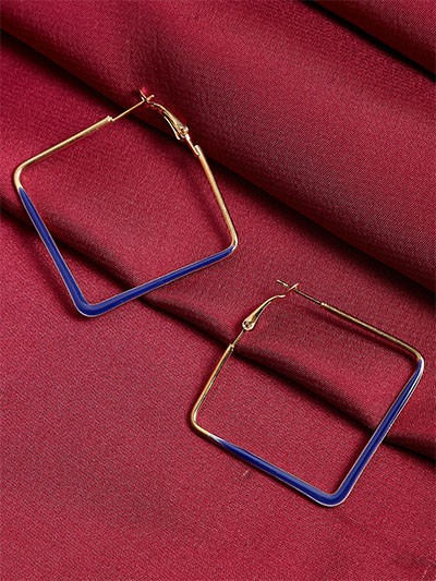 Golden and Blue Geometrical Earrings