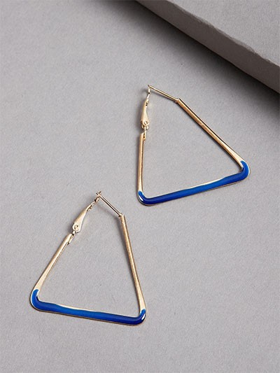 Golden and Blue Triangular Earrings