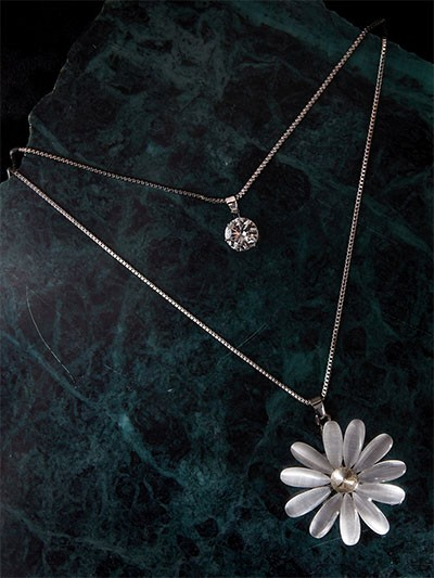 Layered Silver Floral Necklace
