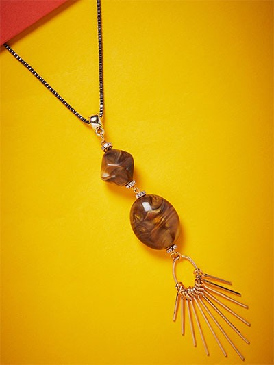 Golden and Brown Beads Contemporary Necklace
