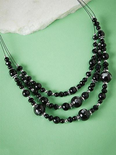 Layered Black Beads Necklace