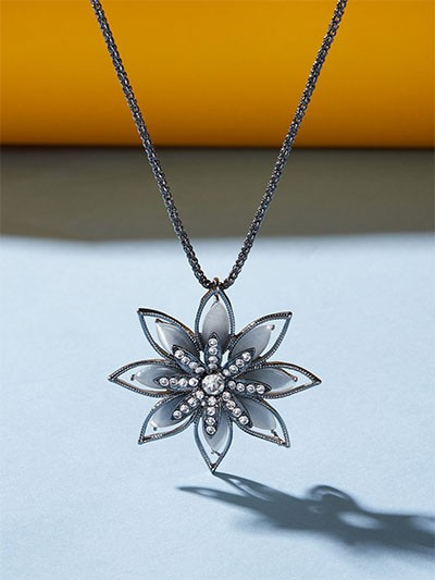 Studded Silver Floral Contemporary Necklace
