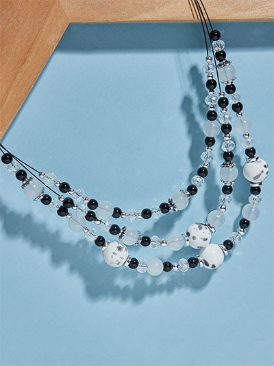 Layered Black and White Beads Contemporary Necklace