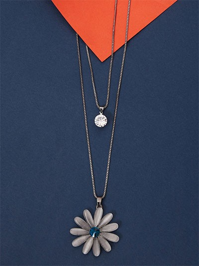 Silver Layered Floral Necklace With Blue Stone