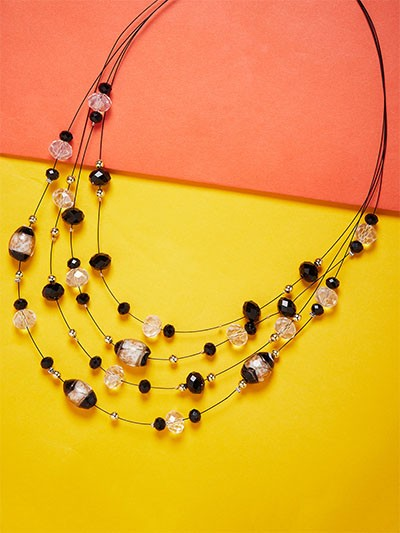 Layered Crystal Bead Necklace