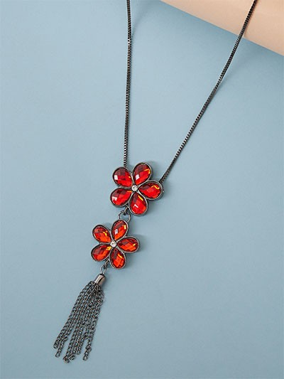 Red Flower Western Necklace