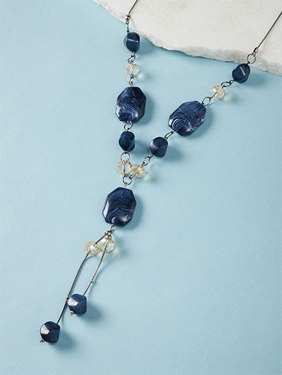 Navy Blue Contemporary Necklace