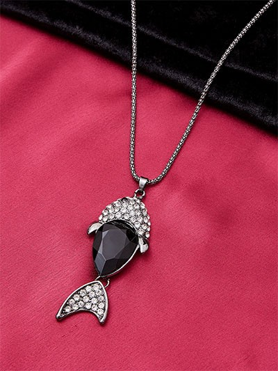 Handcrafted Black Fish Western Necklace For Women