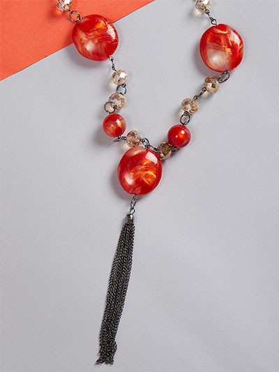 Red Beads Contemporary Necklace
