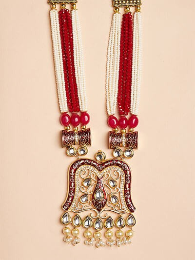 Maroon Kundan Pendant Necklace Set