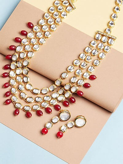 Layered Kundan Necklace Set With Maroon Beads