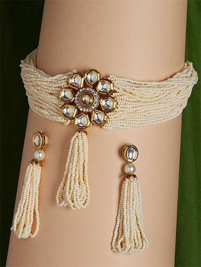White Kundan Studded and Beaded Choker Necklace Set