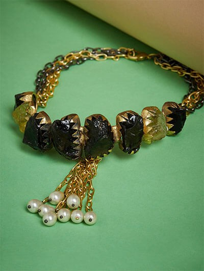 Brass Choker Necklace Studded With Semi-Precious Gemstones