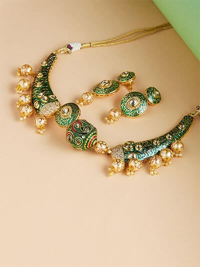 Green Kundan and Meena Studded Choker Necklace Set
