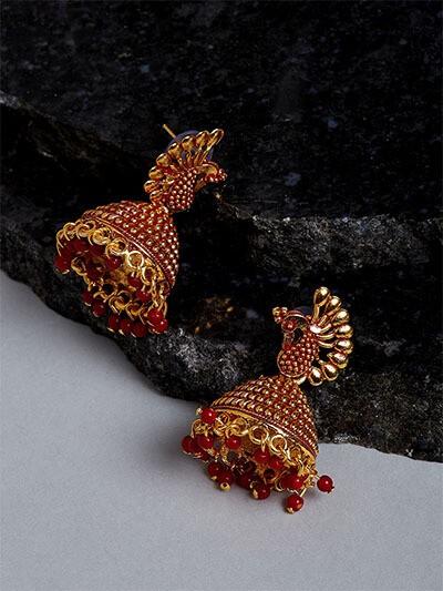 Golden & Red Peacock Jhumkas For Women