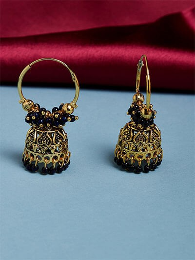 Golden and Blue Bali Jhumka Earrings