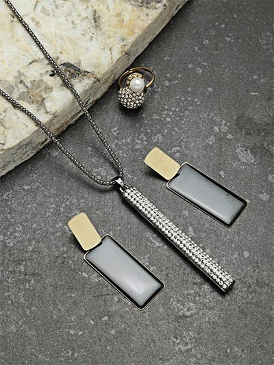 Set of Contemporary Studded Necklace, Earrings and Ring