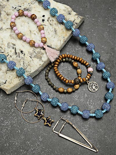 Set of Beaded Necklace, Bracelets and Contemporary Earrings
