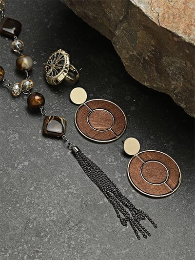 Set of Contemporary Necklace, Wooden Earrings and Ring