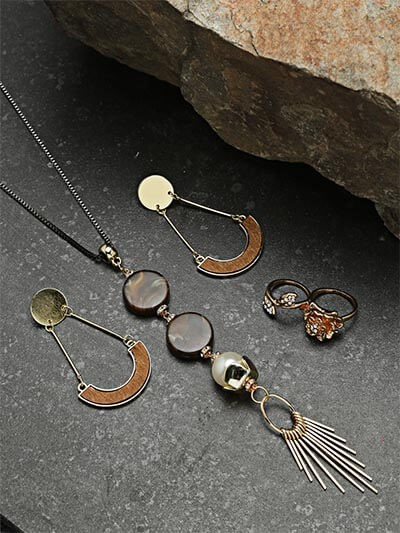Set of Contemporary Necklace, Earrings and Statement Ring