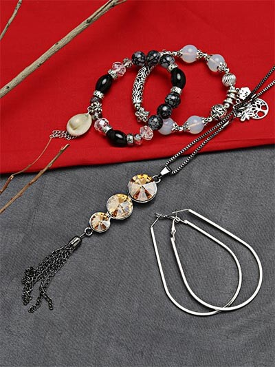 Set of Contemporary Necklace, Charm Bracelets and Geometrical Earrings
