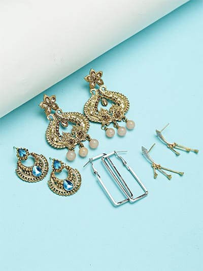 Set of Ethnic, Geometrical and American Diamond Earrings
