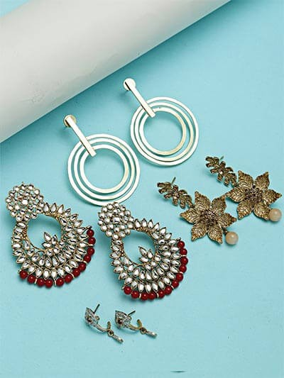 Set of Ethnic, Contemporary and American Diamond Earrings