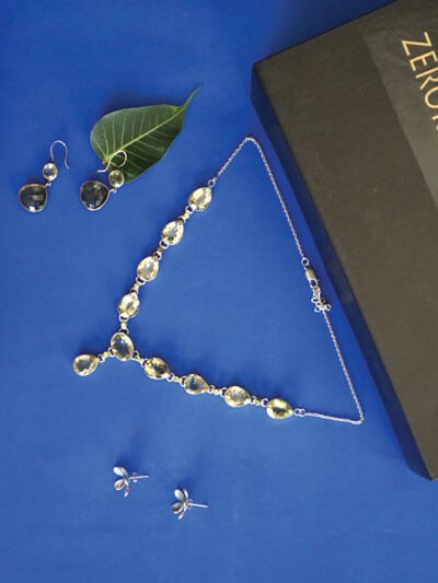 Set of Sterling Silver Necklace and Earrings