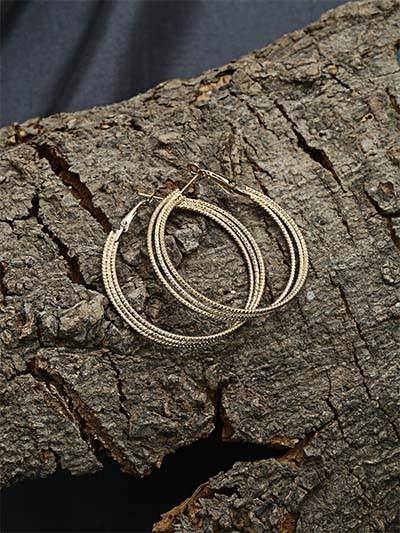 Layered Golden Hoop Earrings