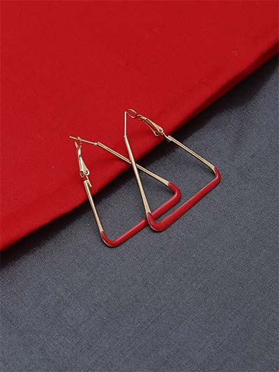 Golden and Red Triangle Earrings