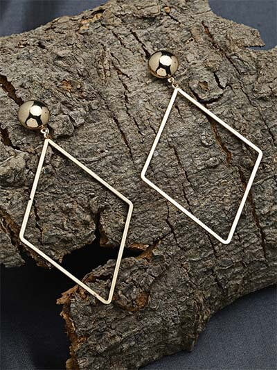 Long Golden Geometrical Earrings