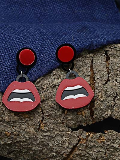 Quirky Red and Black Earrings