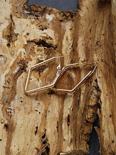 Studded Golden Geometrical Earrings