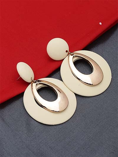 Golden and Cream Dangle Earrings