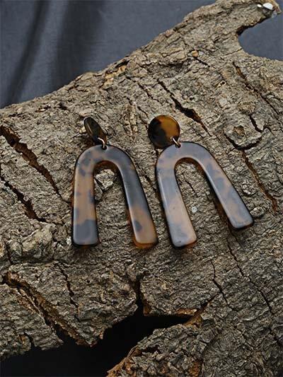 Textured Brown Dangle Earrings
