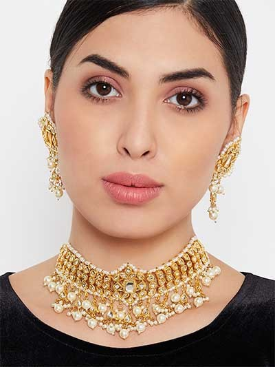 Gold Plated White and Golden Kundan Studded Choker Necklace Set