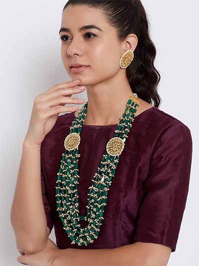 Green and Golden Kundan and Beads Encrusted Layered Handcrafted Jewellery Set