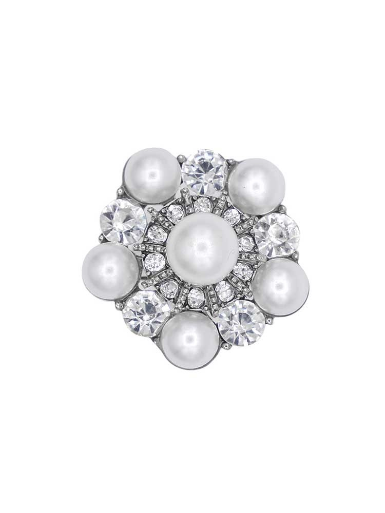 Pearl and American Diamond studded Silver Jewellery band