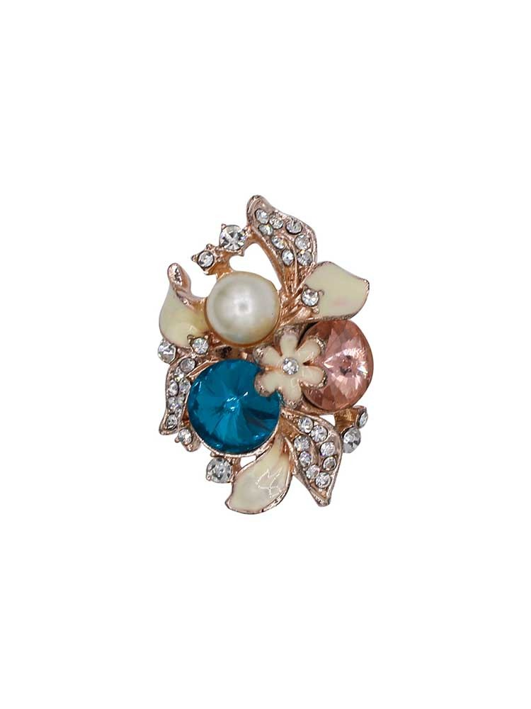 Exotic Turquoise and Pearl Studded Ring