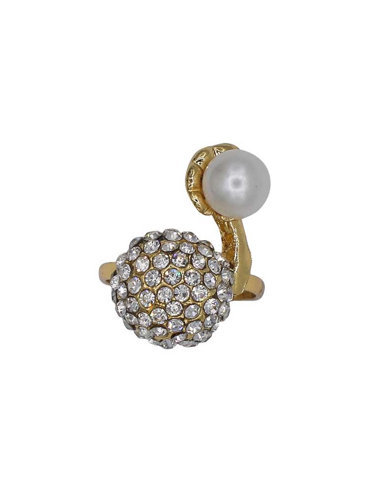 Designer Pearl and American Diamond Studded Gold Plated Handmade Jewellery Ring