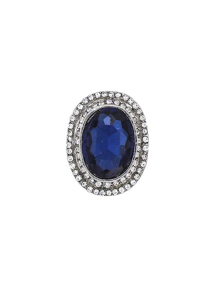 Cobalt Blue Studded Handmade Jewellery Ring