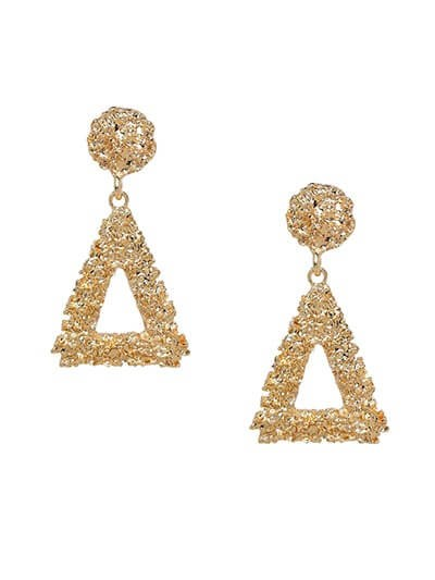 Lightweight Golden Triangular Dangle Earrings