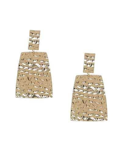 Lightweight Golden Textured Dangle Earrings