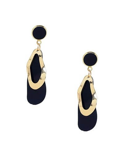 Lightweight Golden and Black Lead Dangle Earrings