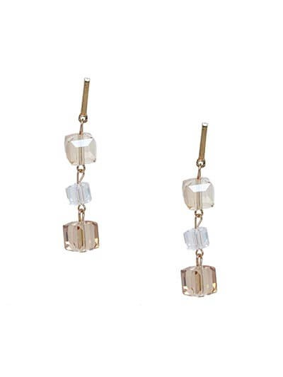 Lightweight Layered Crystal Dangle Earrings