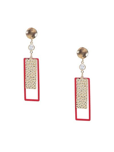 Lightweight Golden and Red Dangle Earrings