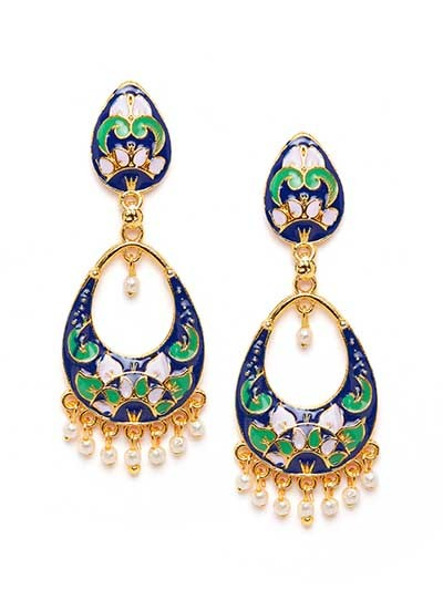 Blue and Lavender Meenakari Dangle Earrings